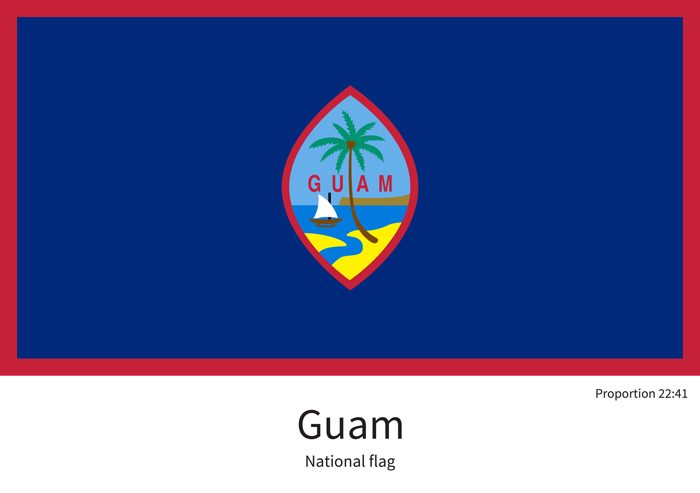 National flag of Guam with correct proportions, element, colors for education books and official documentation