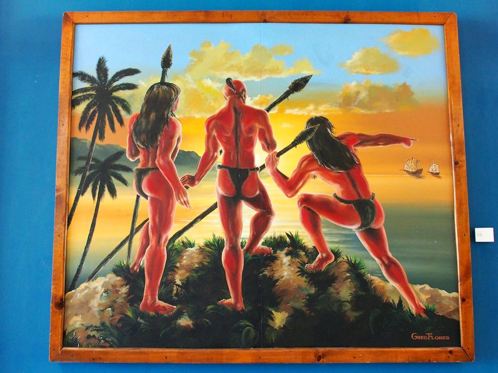 伝統的チャモロ人を描いた絵画(グアムミュージアム)